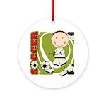 Boy Soccer Player Ornament (Round)
