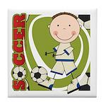 Boy Soccer Player Tile Coaster