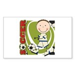 Boy Soccer Player Sticker (Rectangle)