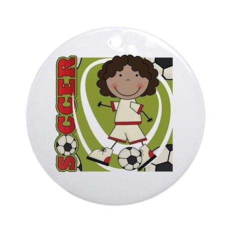 AA Girl Soccer Player Ornament (Round)