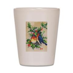 Robins & Holly Christmas Shot Glass
