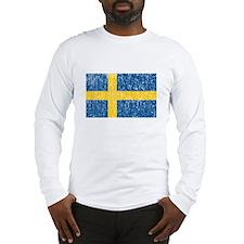 Vintage Sweden Flag Long Sleeve T-Shirt