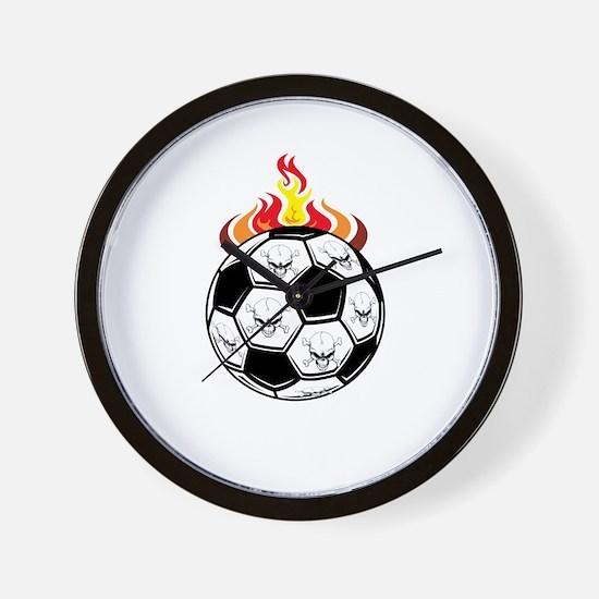 Soccer Skulls Wall Clock