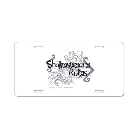 Shakespeare Rules Aluminum License Plate