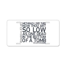 Romeo & Juliet Tomb Quote Aluminum License Pla