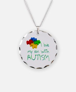 Autistic son Necklace Circle Charm