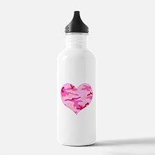 Pink Camo Heart Water Bottle