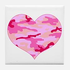 Pink Camo Heart Tile Coaster