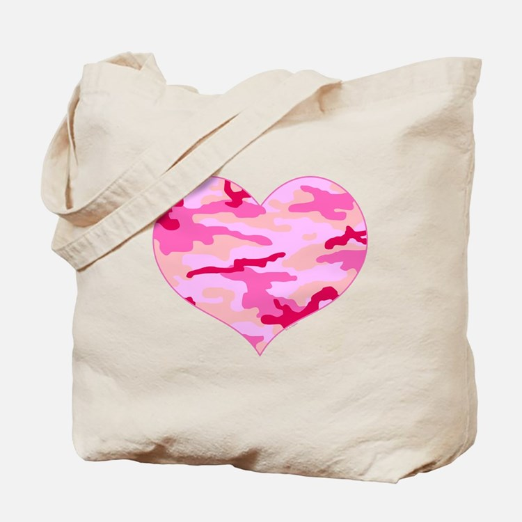 Pink Camo Heart Tote Bag