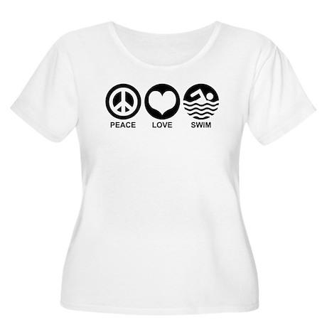 Peace Love Swim Women's Plus Size Scoop Neck T-Shi