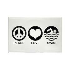 Peace Love Swim Rectangle Magnet