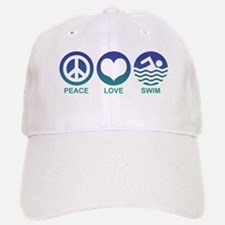 Peace Love Swim Baseball Baseball Cap