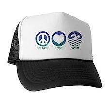 Peace Love Swim Trucker Hat