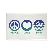 Peace Love Swim Rectangle Magnet