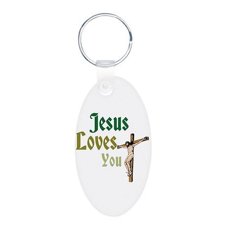 Jesus Loves You Aluminum Oval Keychain