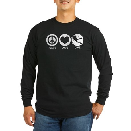 Peace Love Dive Long Sleeve Dark T-Shirt