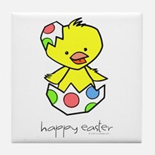 """""""Happy Easter"""" Chick Tile Coaster"""