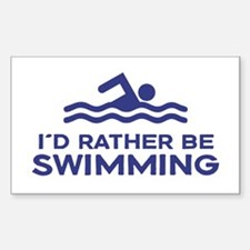 I'd Rather be Swimming Sticker (Rectangle)