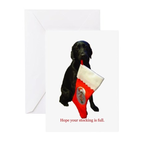 lab with stocking Greeting Cards (Pk of 10)