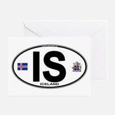 Iceland Euro Oval Greeting Card