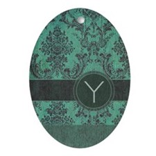 Vintage Damask Monogram Ornament (Oval)