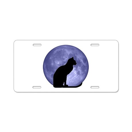 Cat & Moon Aluminum License Plate