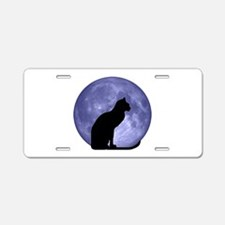 Cat & Moon Aluminum License Plate