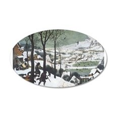 Hunters in the Snow 22x14 Oval Wall Peel