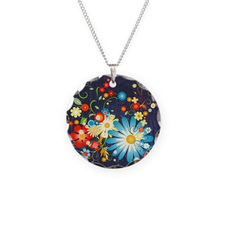 Floral explosion of color Necklace Circle Charm