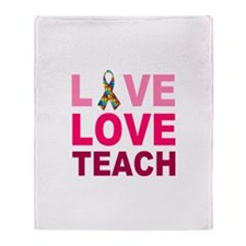 Live Love Teach Autism Throw Blanket