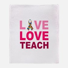 Live Love Teach Autism Throw Blanket