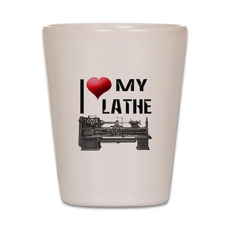 I Heart (Love) My Lathe Shot Glass