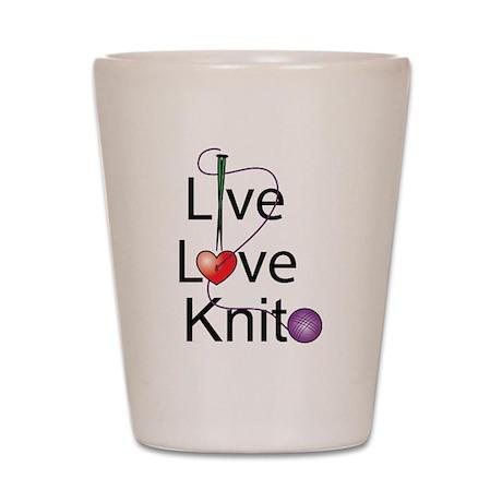 Live Love KNIT Shot Glass