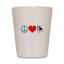 Peace Love Chihuahua Shot Glass