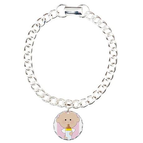 Baby Bottle Girl Charm Bracelet, One Charm