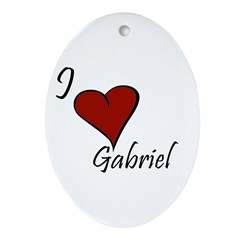 I love Gabriel Ornament (Oval)