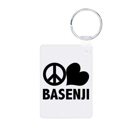 Peace Love Basenji Aluminum Photo Keychain