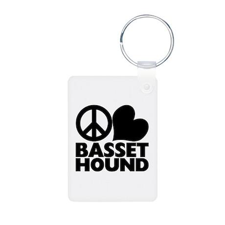 Peace Love Basset Hound Aluminum Photo Keychain