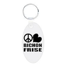 Peace Love Bichon Frise Keychains