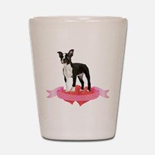 Boston Terrier Valentine Shot Glass