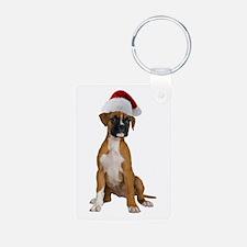 Santa Boxer Puppy Keychains