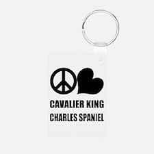 Peace Love Cavalier King Char Keychains