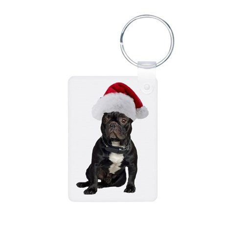 French Bulldog Christmas Aluminum Photo Keychain