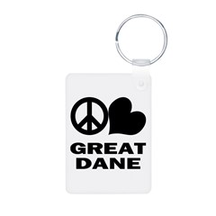 Peace Love Great Dane Keychains
