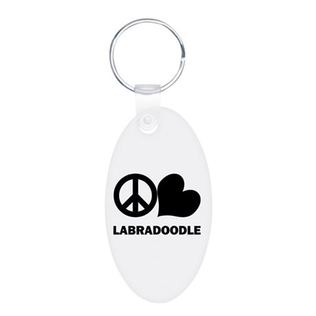 Peace Love Labradoodle Aluminum Oval Keychain