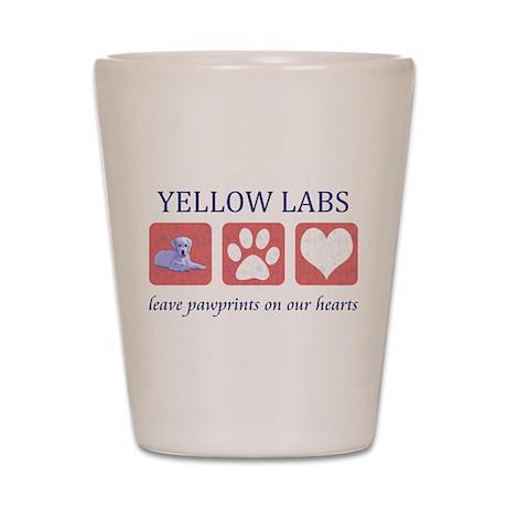 Yellow Lab Pawprints Shot Glass