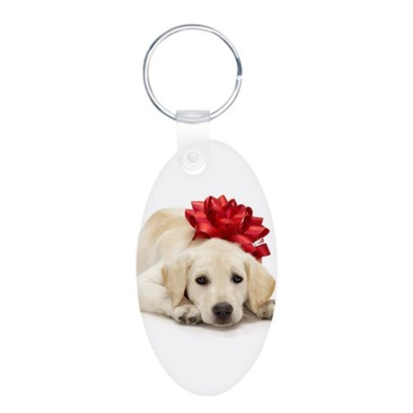 Yellow Lab Puppy Aluminum Oval Keychain