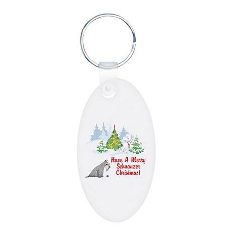Christmas Mini Schnauzer Aluminum Oval Keychain