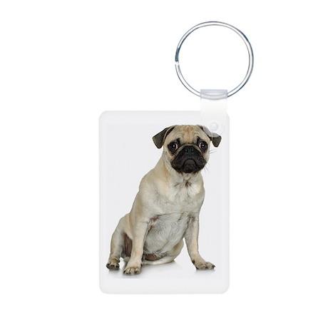 Fawn Pug Aluminum Photo Keychain