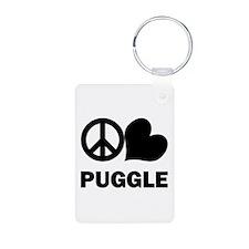 Peace Love Puggle Keychains